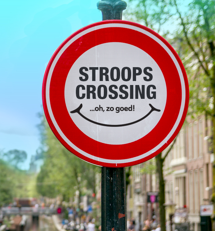 A traffic sign warns CAUTION - Stroop Crossing...oh, zo goed!