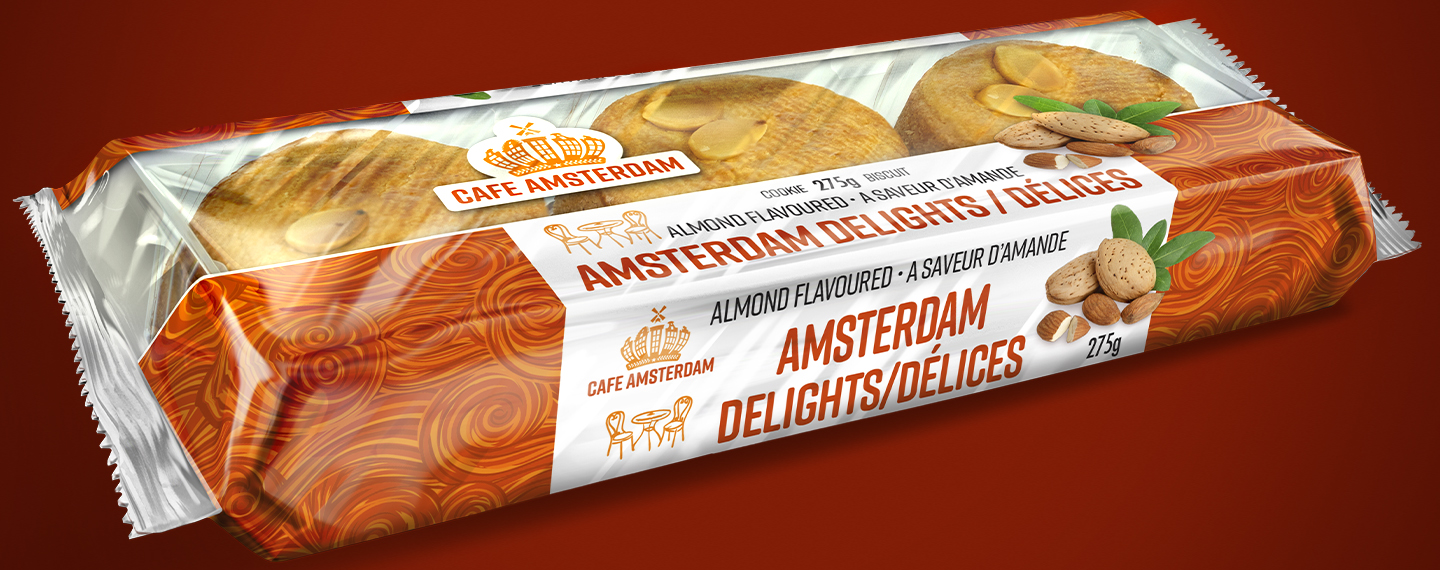 A package of Cafe Amsterdam Amsterdam Delights cakes