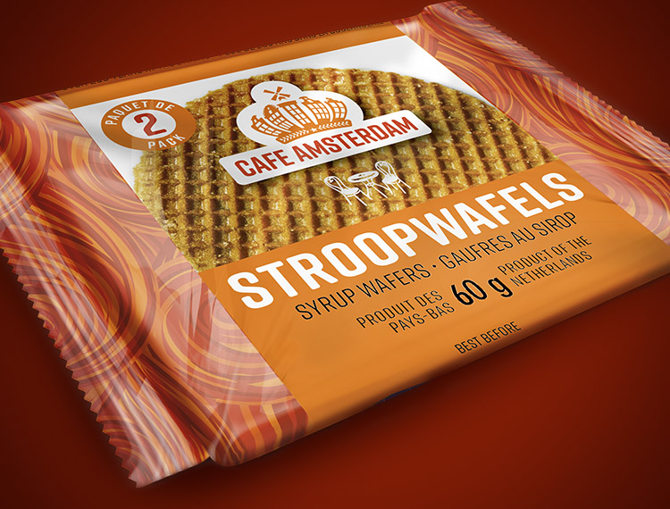 A two-pack of Cafe Amsterdam Stroopwafels is the perfect snack on-the-go!