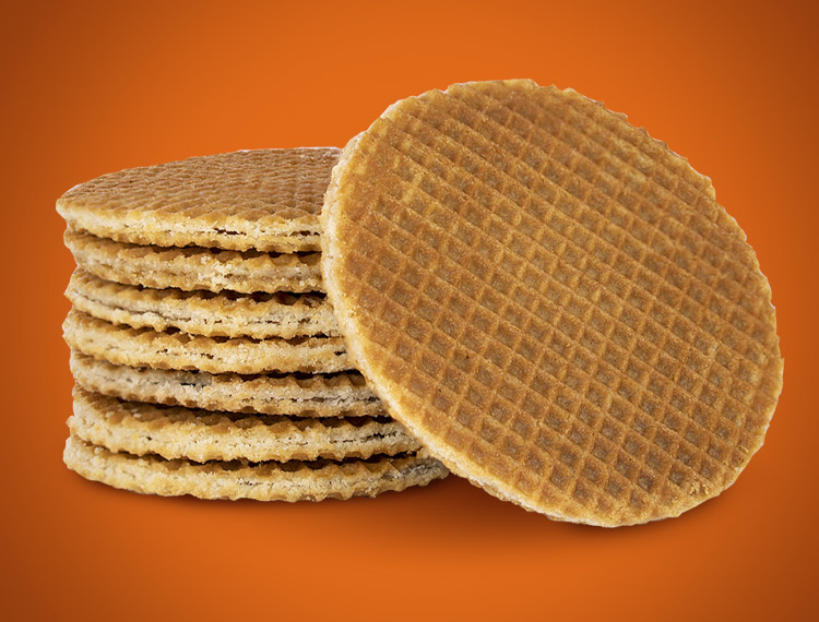 Each Stroopwafel is stamped with its distinct checked pattern